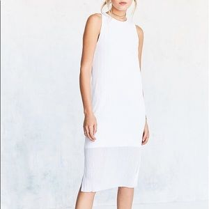 White Accordion Pleated Midi Tank Dress